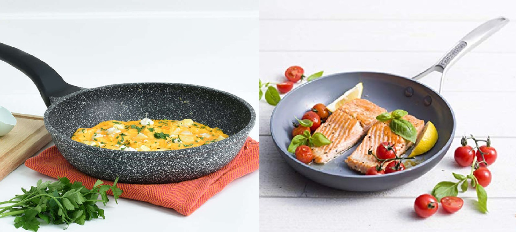 a granite pan with egg and the ceramic pan with salmon