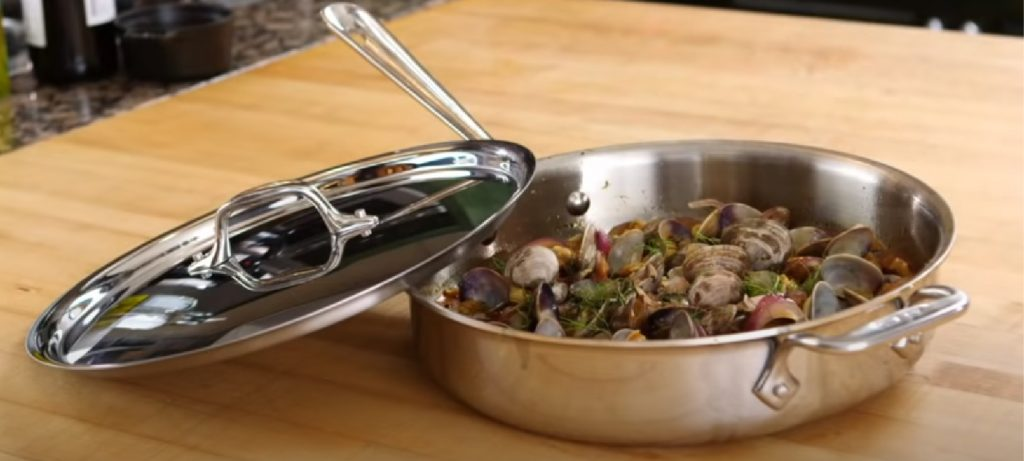 a saute pan contains yummy seafood