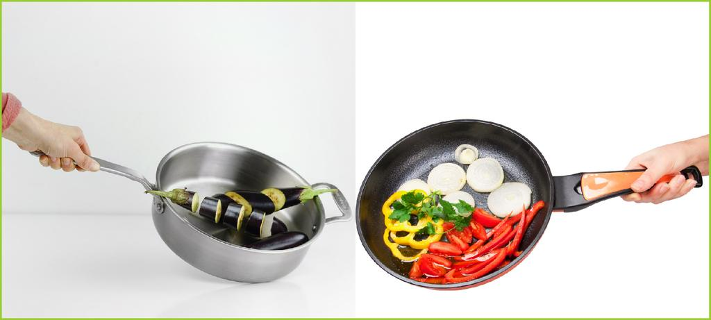 eggplant in the steel pan and mixed chillies in ceramic pan