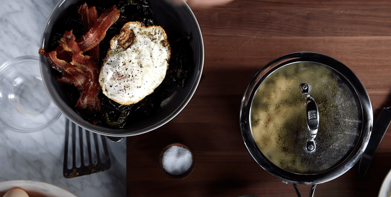 appetizing bacon and egg in the Zwilling cookware