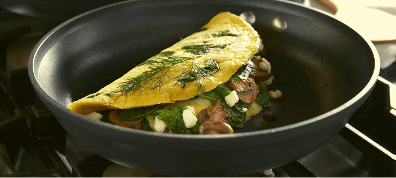 omelette pan placed on gas stove