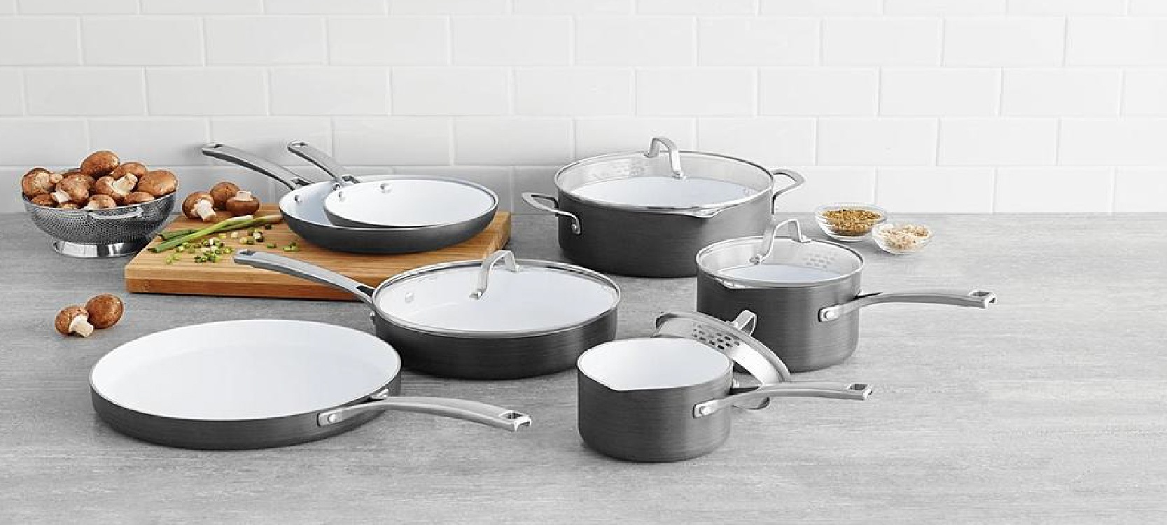 the luxury Calphalon ceramic pots and pans on the grey kitchen