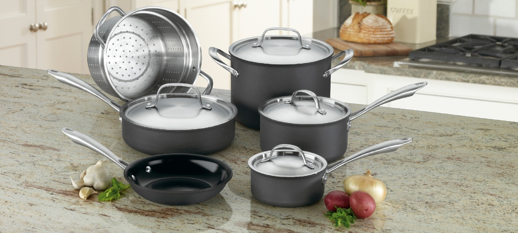 the full set of Cuisinart ceramic cookware sitting beauty in the kitchen