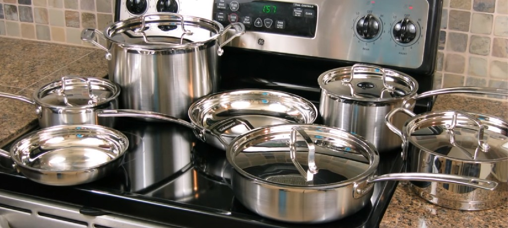 the cuisinart stainless stee cookware sitting above the induction stove