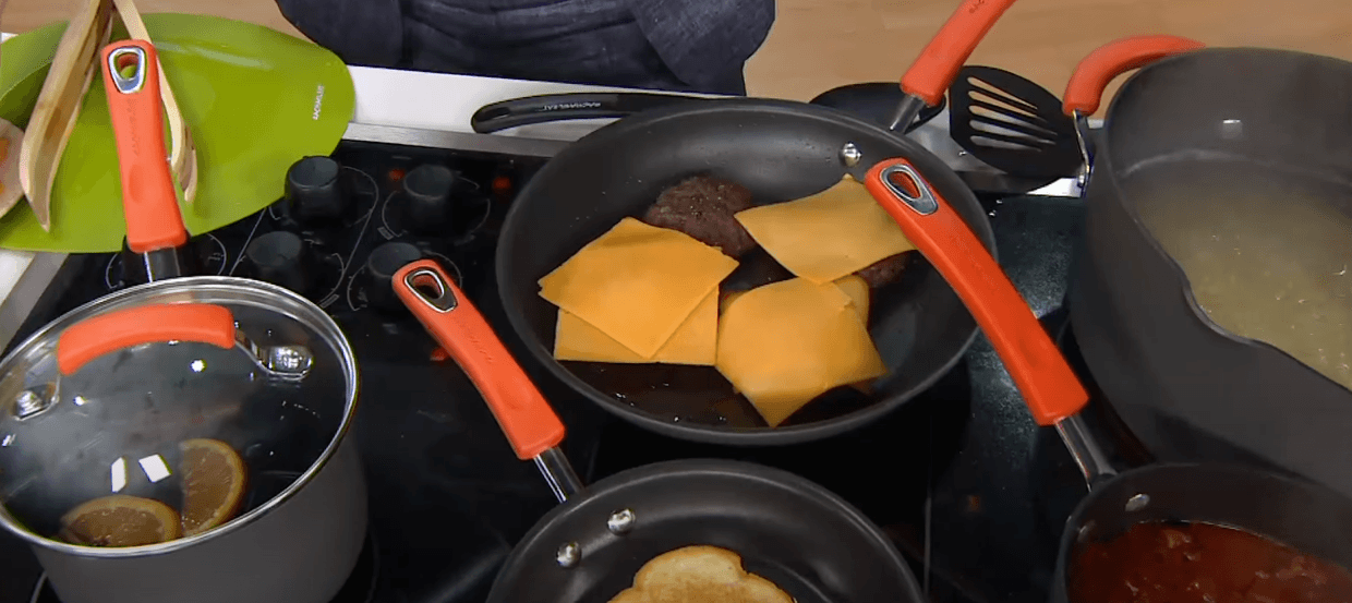 cooking beef and cheese in the Rachael Ray pan
