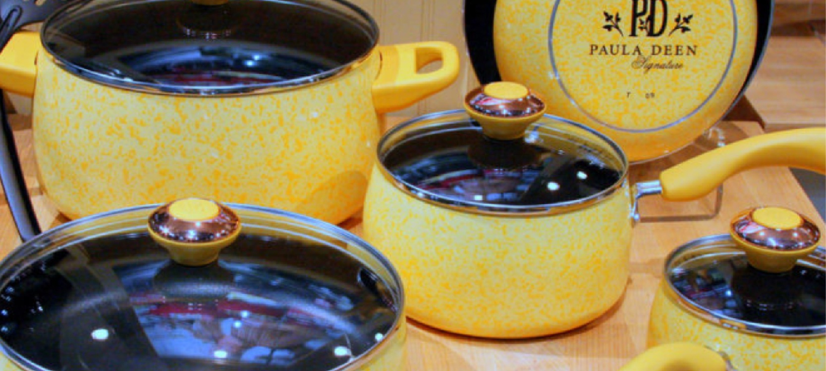 the stunning yellow Paula Deen kitchenware