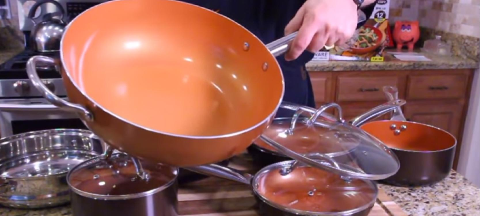 red copper cookware in the kitchen