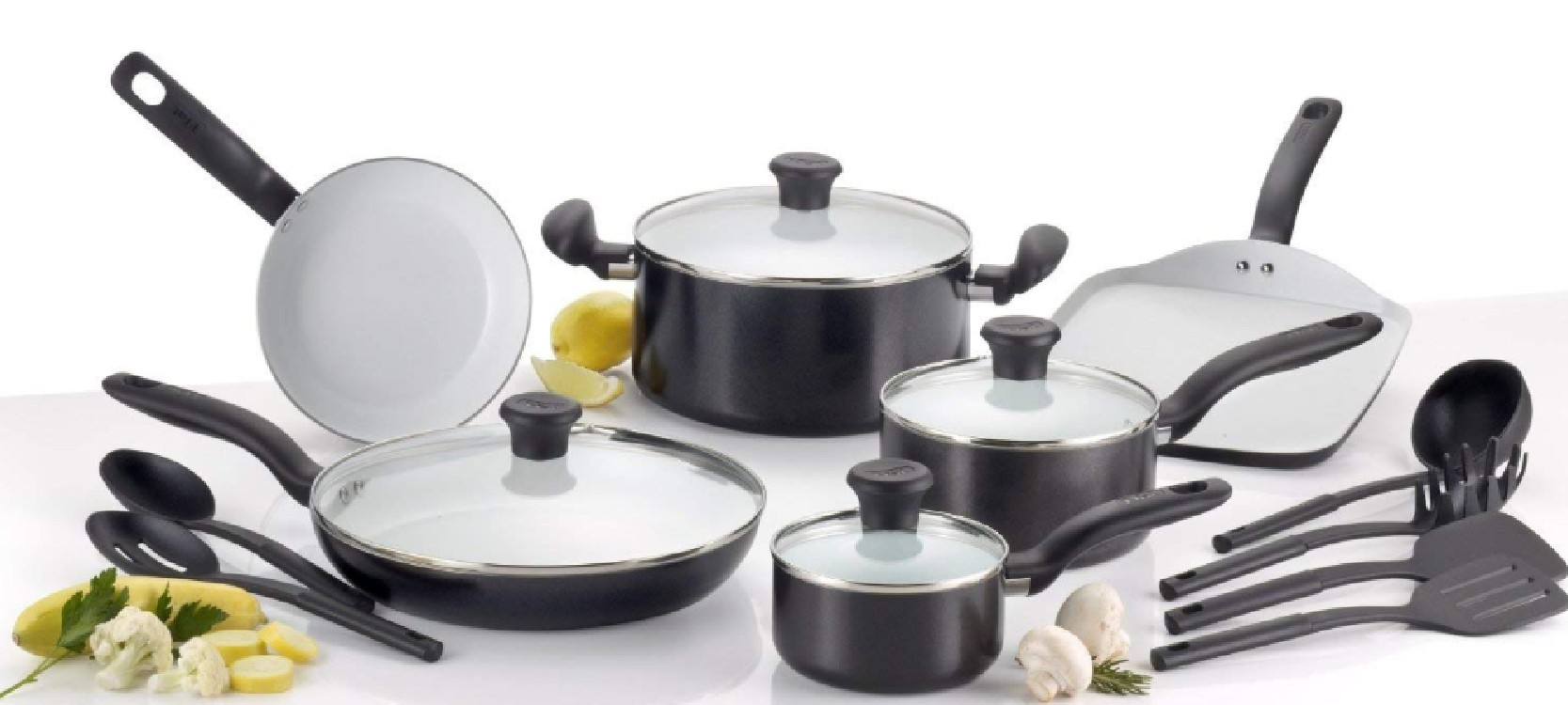 the full set of TFal ceramic kitchenware in nice looking