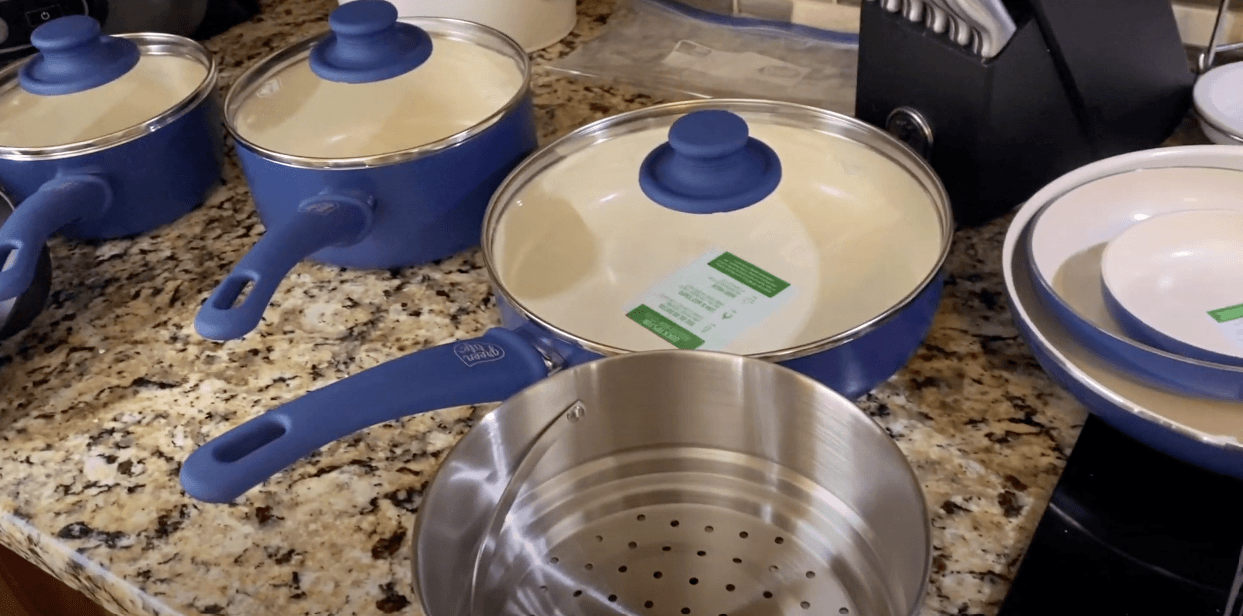 the Greenlife cooking set with lids