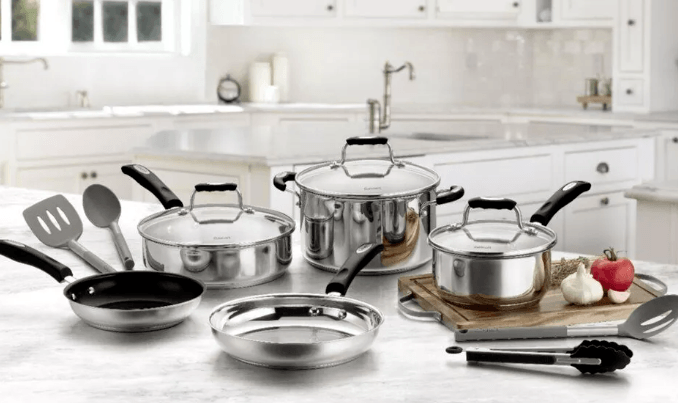 full set of stainless steel Cuisinart pots an pans