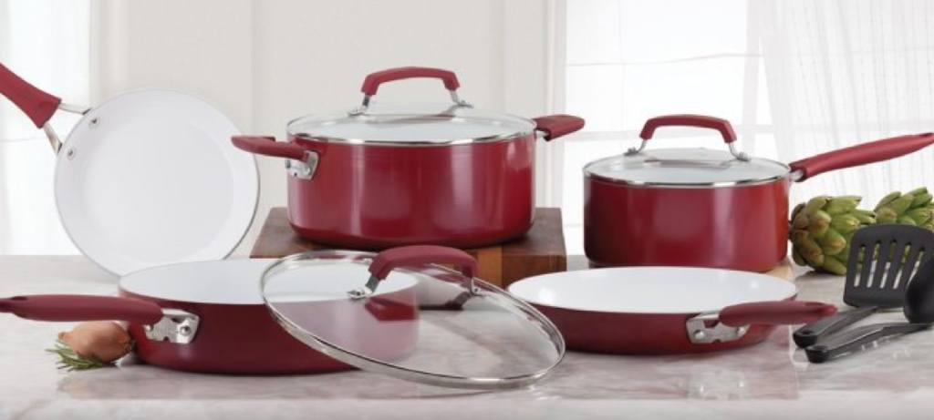 luxury red ceramic Wearever set on the kitchen table