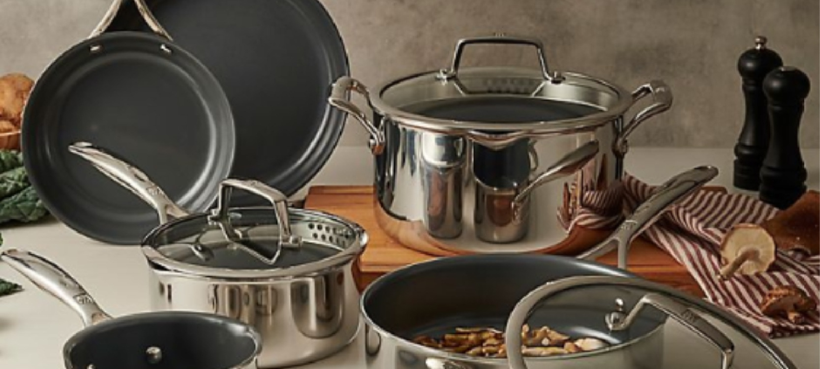 modern and unique Zwilling ceramic cookware placing on the table