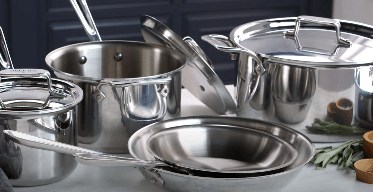 a stainless steel cookware on tabletop