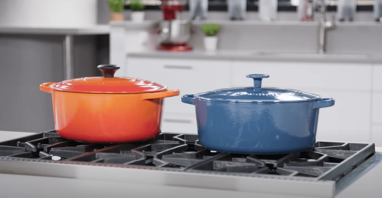 dutch ovens placed on gas stove