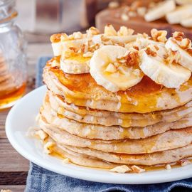 oatmeal and banana pancake stack