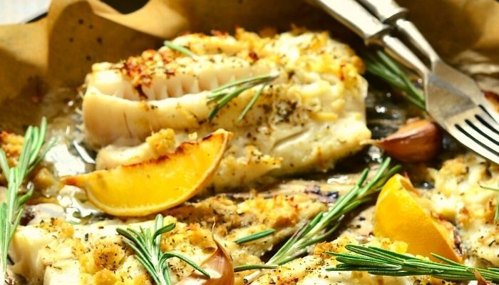a delicious lunch with baked cod