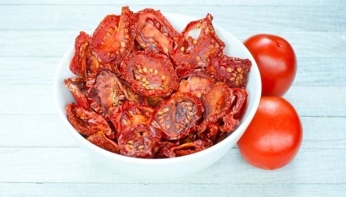 bowl of sun-dried tomatoes on table