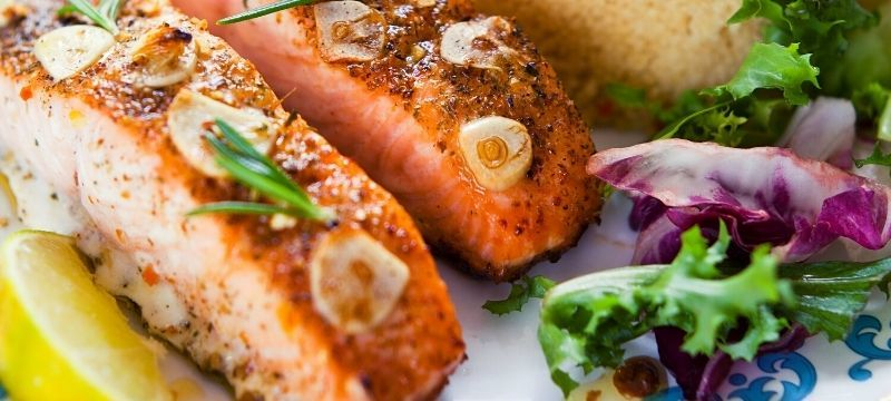 baked salmon and vegetables