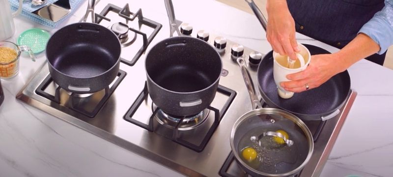 stackable cookware on gas stove